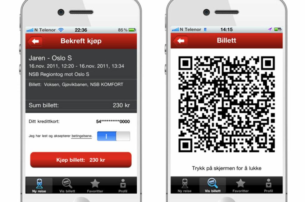 Her ser du hvordan appen vil fungere og hvordan den digitale togbilletten vil se ut. Foto: NSB