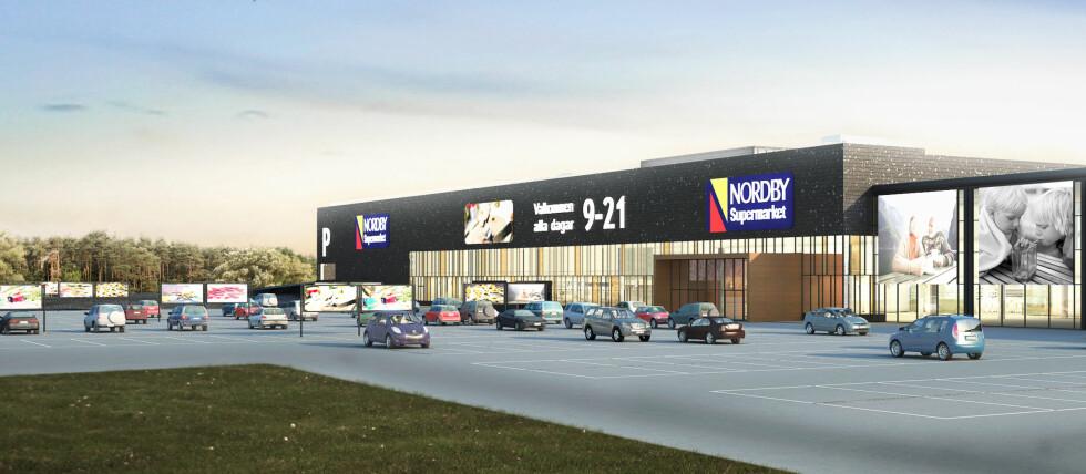 <strong><b>GRENSEHANDEL VED SVINESUND:</strong></b> Nye Nordby Supermarket på Nordby Shoppingcenter blir med sine 10.000 kvadratmeter mye større enn noe vi kjenner her til lands. De henvender seg i størst grad til norske kunder. Foto: Grensemat AB