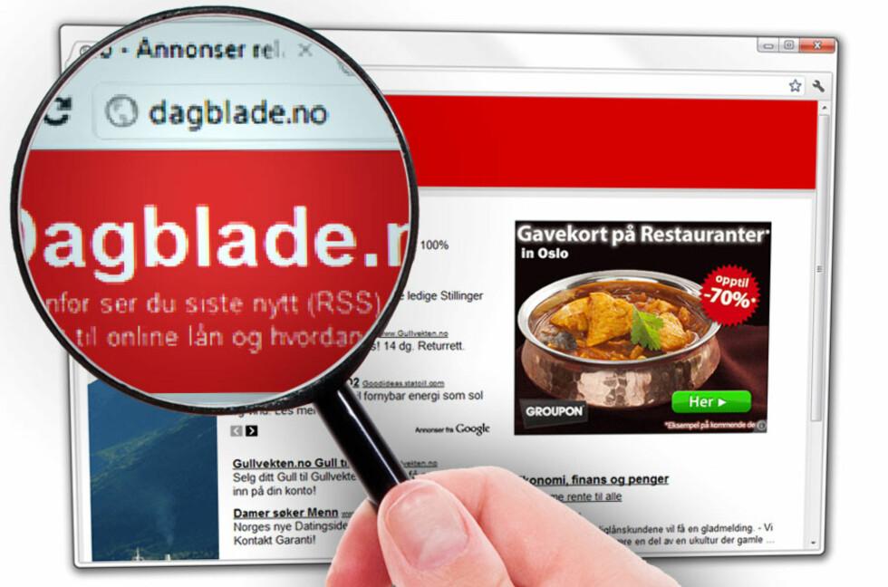 OJDA: Skrev du Dagblade.no i stedet for Dagbladet.no? Da blir du sendt til denne siden, som bare er en samling annonser.  Foto: Ole Petter Baugerød Stokke