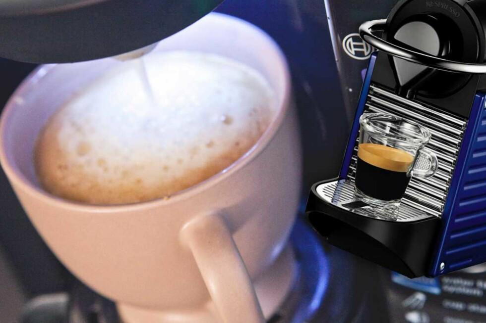 SJEKK FØR KJØP: Du kan spare mange hundre kroner på å sjekke prisene på kaffemaskiner før du slår til. For eksempel på disse to fra Nespresso og Bosch. Foto: Per Ervland/Produsenten