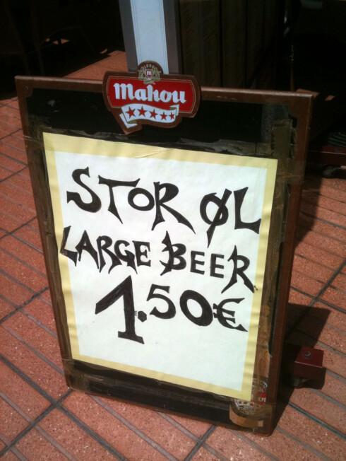 På Gran Canaria er det enkelt å bestille øl.  Foto: Silje Ulveseth