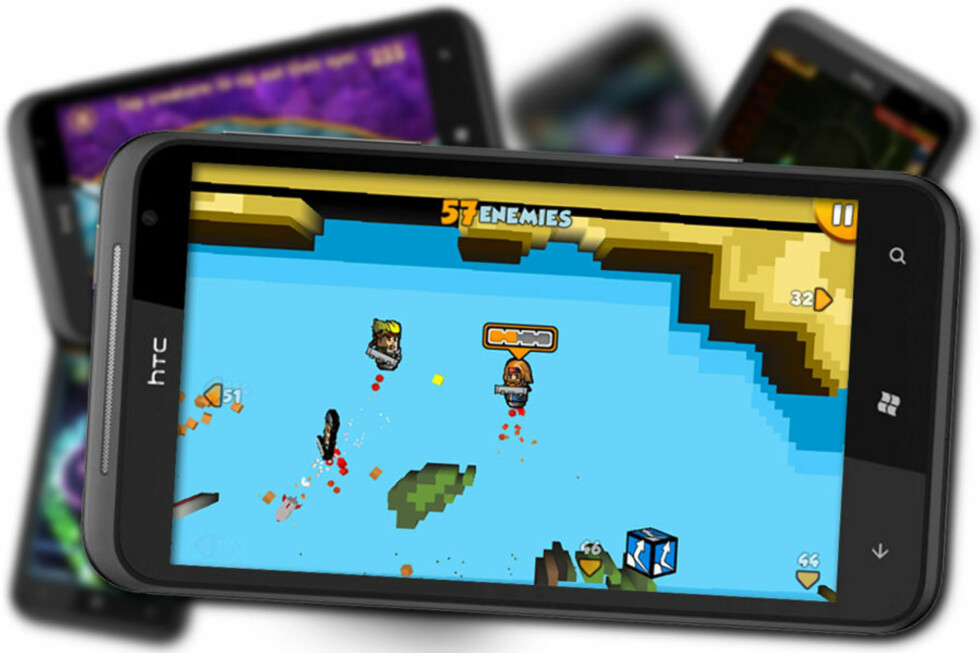 SPILL, SPILL, SPILL: Liker du å spille på mobilen, kan du trygt kjøpe deg en Windows Phone 7-telefon. For eksempel kan du nyte Rocket Riot på HTC Titans gigantiske skjerm. Det gjør vi.  Foto: Ole Petter Baugerød Stokke