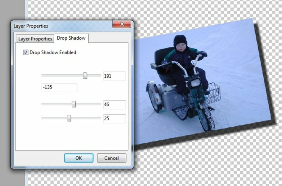 Å rotere lag på bilder og få dem til å kaste skygge, er enkelt å få til.
