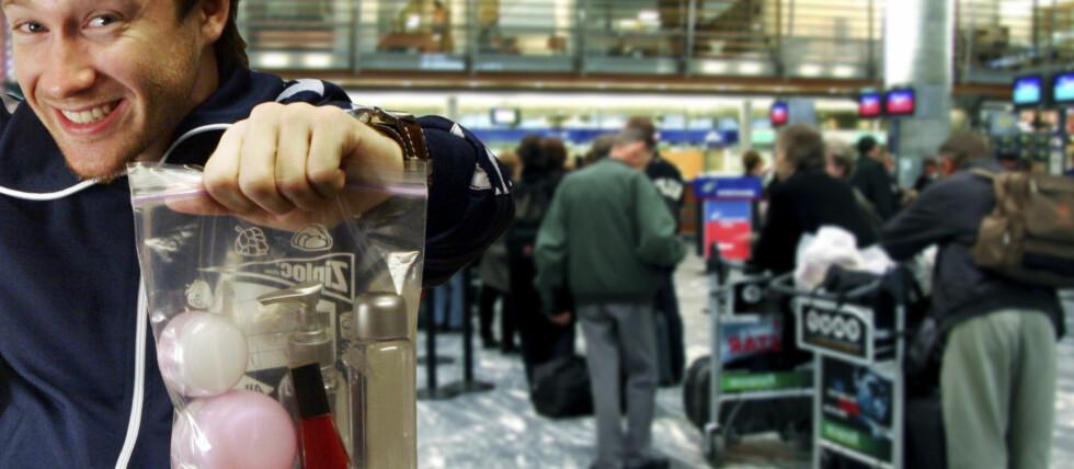 KLAR FOR Å FLY: Hvis du vil ha med deg væske i håndbagasjen, er det slik du skal pakke det inn ... Foto: Per Ervland