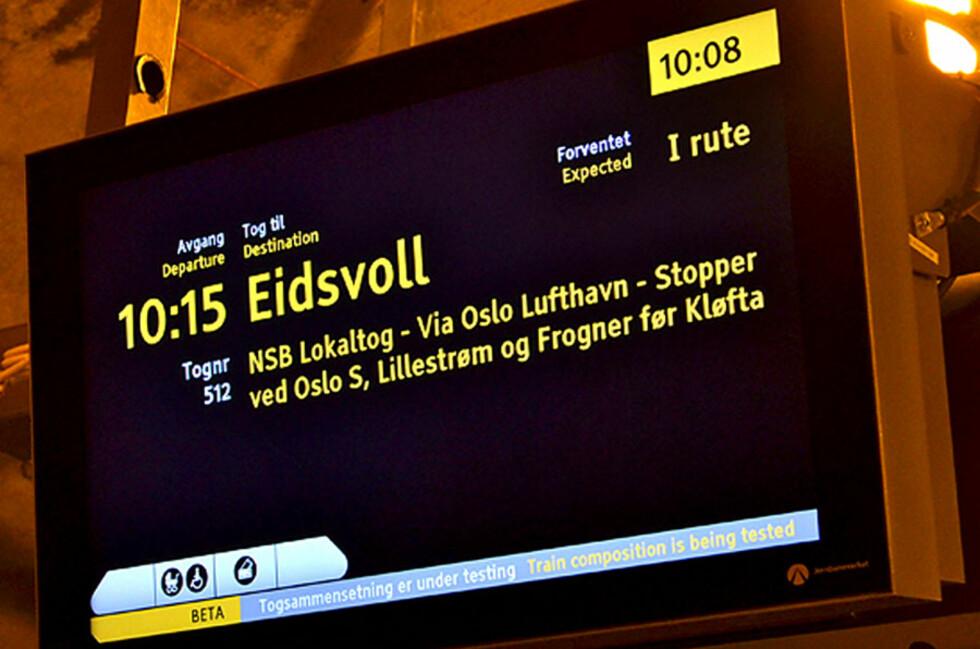 NYTT: Slik ser det ut på Nationaltheatret stasjon i Oslo. Og slik vil det sannsynligvis se ut langt flere steder snart.  Foto: Jernbaneverket