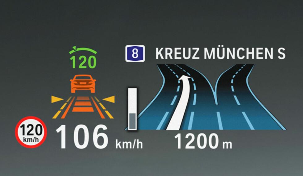 HUD i farger: Fartsgrense, bilens hastighet, fartsholders innstilling og avstandskontroll i forhold til bilen foran samt navigasjon - fargene gjør det lettere å holde informasjonen adskilt. Foto: BMW