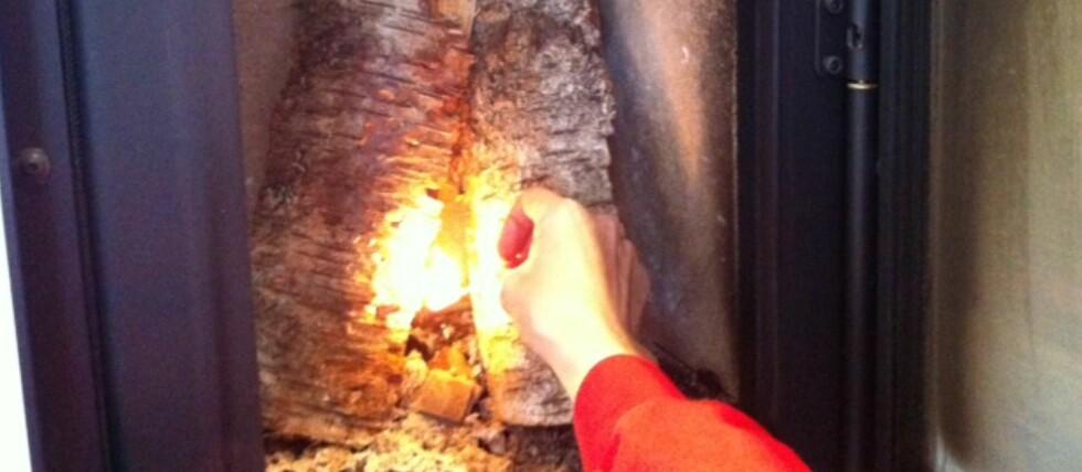 OPPTENNING I OVN: I moderne, rentbrennende ovner bør du tenne opp slik at det brenner ovenfra og ned, ikke nedenfra og opp som her. Foto: Kristin Sørdal