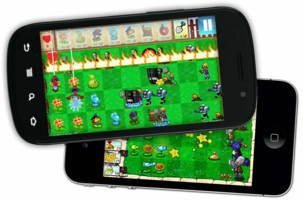 FALSK: Den øverste versjonen, som er den du finner på Android, er ikke det ekte Plants vs. Zombies-spillet. Versjonen under finner du på iPhone, og kommer fra utvikleren selv.  Foto: Ole Petter Baugerød Stokke