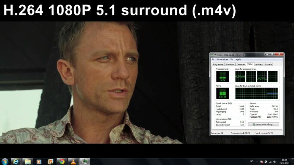 Alt av HD-materiale spilles uten problemer, i eksempelet brukte vi mediespilleren VLC. Legg merke til at det er godt med prosessorkraft igjen til andre oppgaver.