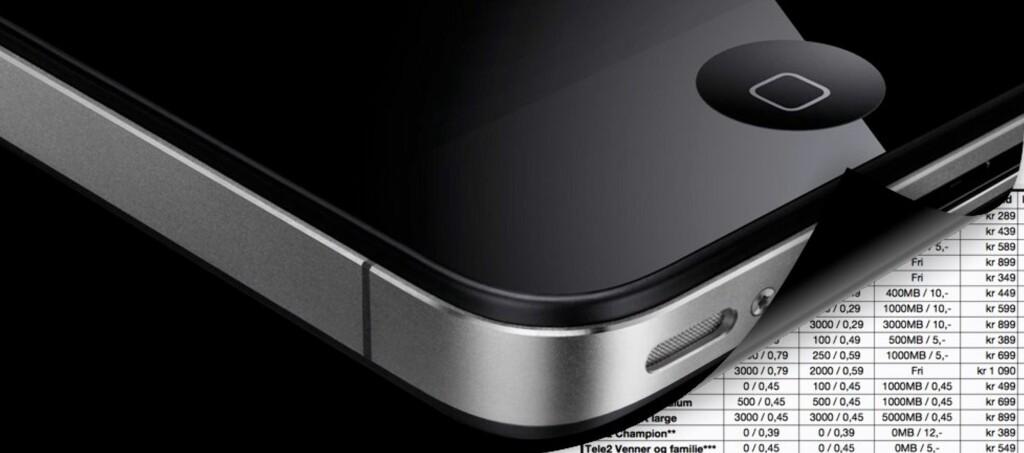 Selv 64GB-versjonen av iPhone 4s koster 1 krone hos Tele2, men du må selvsagt også binde deg til å betale hundrelapper hver måned i ett år. Foto: Apple, montasje: Pål Joakim Olsen