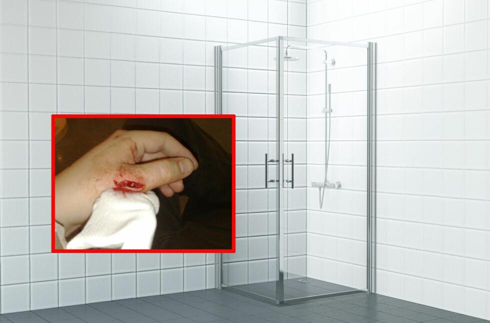 Slutt på kuttskader: med laminerte glassdører fra MegaFlis, skal du kunne dusje trygt uten å være redd for at dusjen skal eksplodere. Foto: Kenneth Larsen/Produsenten
