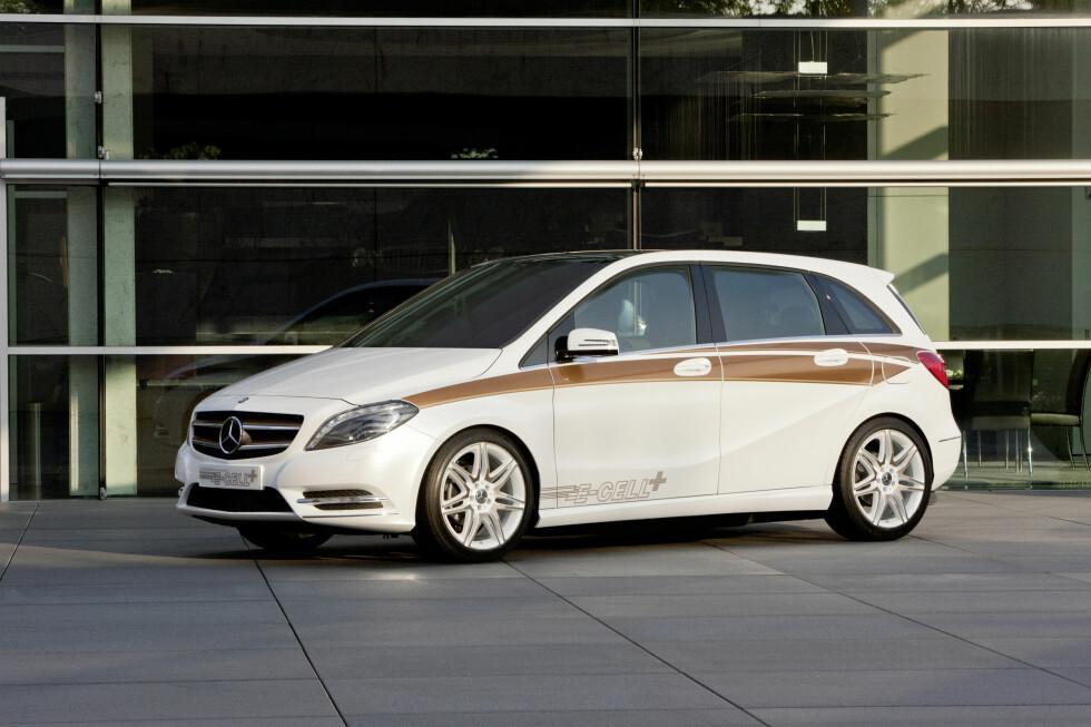 Nyeste konseptbil fra Mercedes nå i 2011: B-Klasse E-Cell Plus, en ladbar hybrid som skal på markedet i løpet av måneder. Foto: Daimler AG