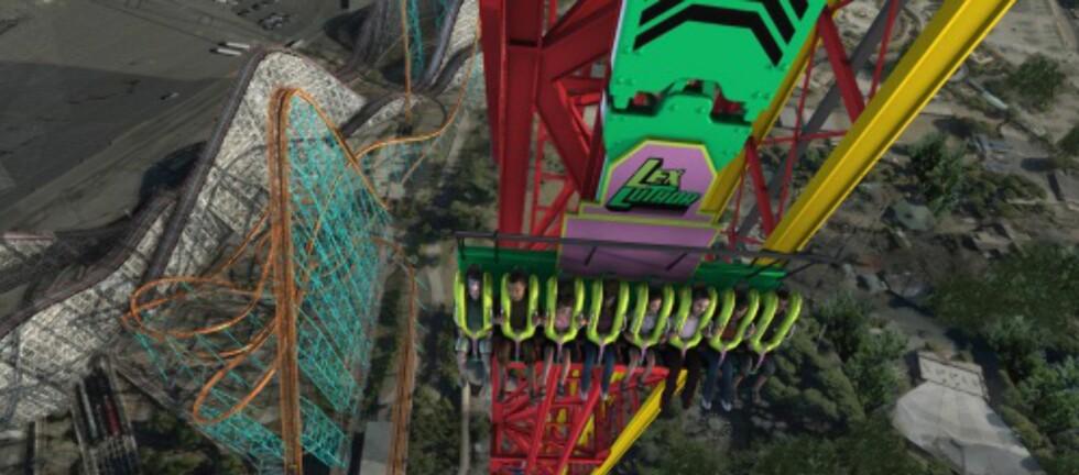 Lex Luthor Drop of Doom: På fem sekunder kan du falle 120 meter rett ned, i en hastighet på 137 kilometer i timen. Fristende? Foto: Wikimedia