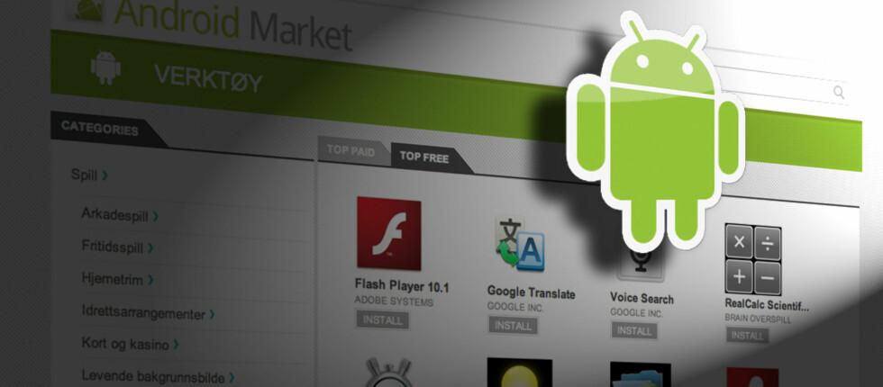 I Norge er det bare under 1% av apps som lastes ned igjennom Android Market som brukeren har betalt for. Foto: Pål Joakim Olsen