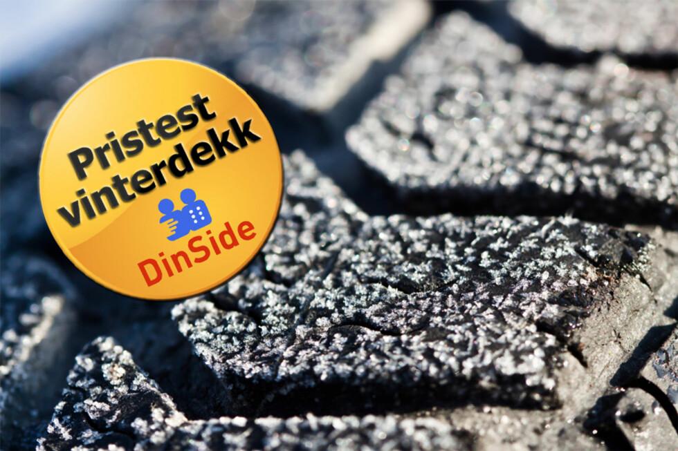 PRISTEST PÅ VINTERDEKK: Prisene på vinterdekk ligger mellom 4.300 og 8.300 kroner, avhengig av dekkmodell og valg av forhandler.  Foto: Colourbox.com