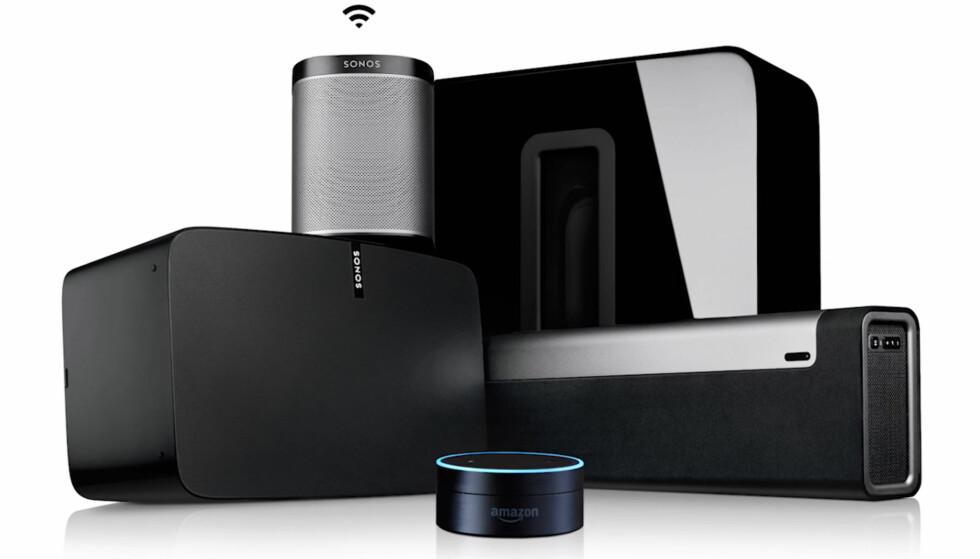 MELDER SEG INN: Allerede i oktober vil Sonos-brukere kunne glede seg over de samme Spotify-funksjonene som de fleste andre produkter har. Og tidlige neste år kommer stemmestyring også. Den lille dingsen i forgrunnen sørger for det. (FOTO: SONOS)