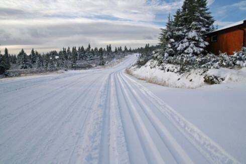 Sjusjøen har kjørt langrennsløyper og bildene ble tatt halv elleve i dag (10.10.2011) Foto: Mette Sandbakken
