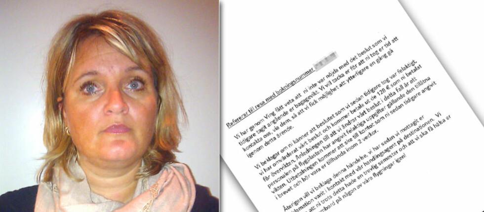 FIKK PENGENE TILBAKE: TUIfly beklager at Merete Ørsal måtte betale overvekt for 16 kilo bagasje, og har tilbakebetalt pengene. Foto: privat