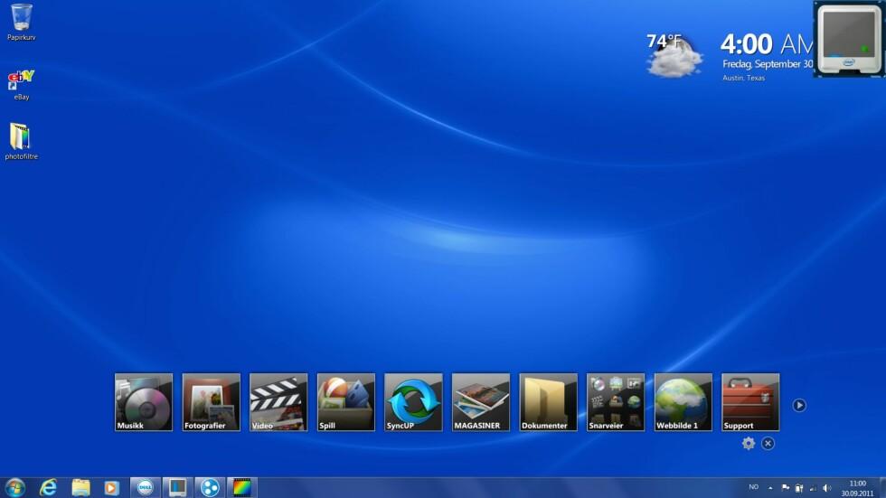 Høy oppløsning er fint for deg som jobber med flere vinduer samtidig. Legg merke til de store ikonene over oppgavelinjen. Dette er en slags verktøylinje med hurtiglenker til ofte brukte programmer. Verktøylinjen er et miniprogram, eller Widget om du vil, og kan enkelt stenges hvis du ikke liker den.
