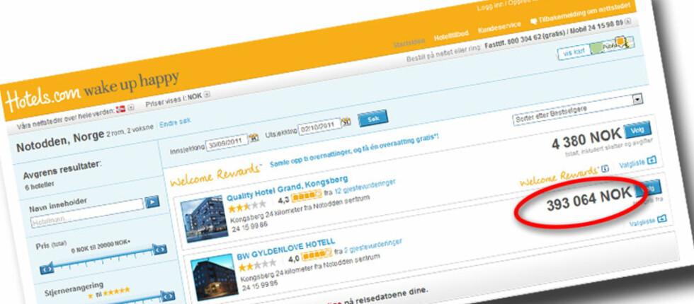 393.064 kroner for to netter på hotell? Ja, det er feil. Heldigvis. Foto: Hotels.com