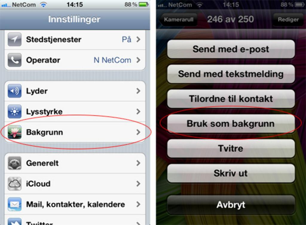 På iPhone kan du enten endre bakgrunn ved å gå via innstillinger-menyen, eller klikke på deleknappen når du ser på et bilde i bildeapplikasjonen.