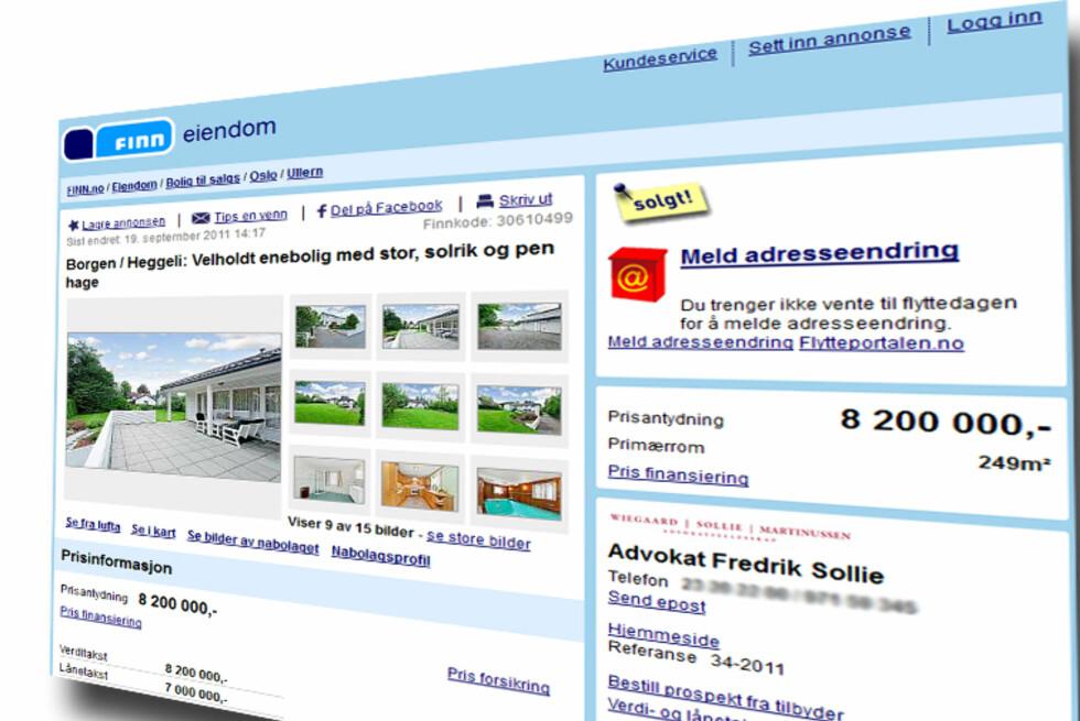 Denne eneboligen sentralt i Oslo er solgt. Til en pris langt over prisantydning - og takst. Foto: Finn.no/DinSide