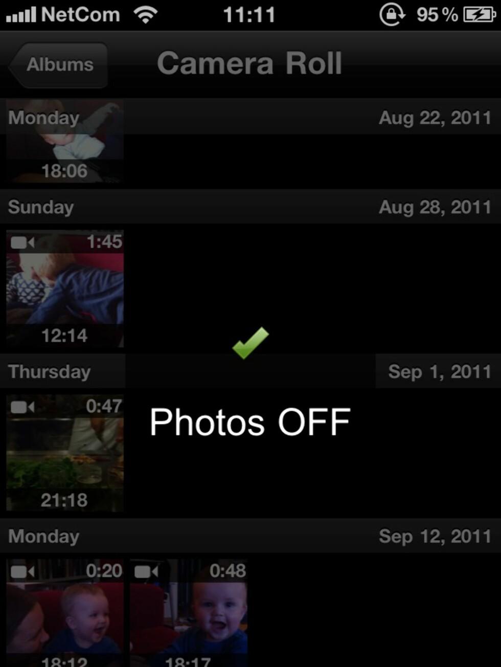 VALGFRIHET: Du kan skru av all tilleggsinformasjonen under bildene (dato og tid), og du kan dessuten velge å vise bare bilder eller bare videoer i biblioteket.