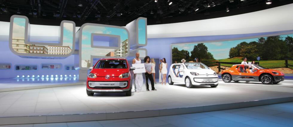 Volkswagen har hele 9.000 kvadratmeter stand i Frankfurt, og mye av plassen er satt av til up! - familien, som teller hele syv medlemmer inklusive konseptene, hvorav flere snart skal i produksjon.
