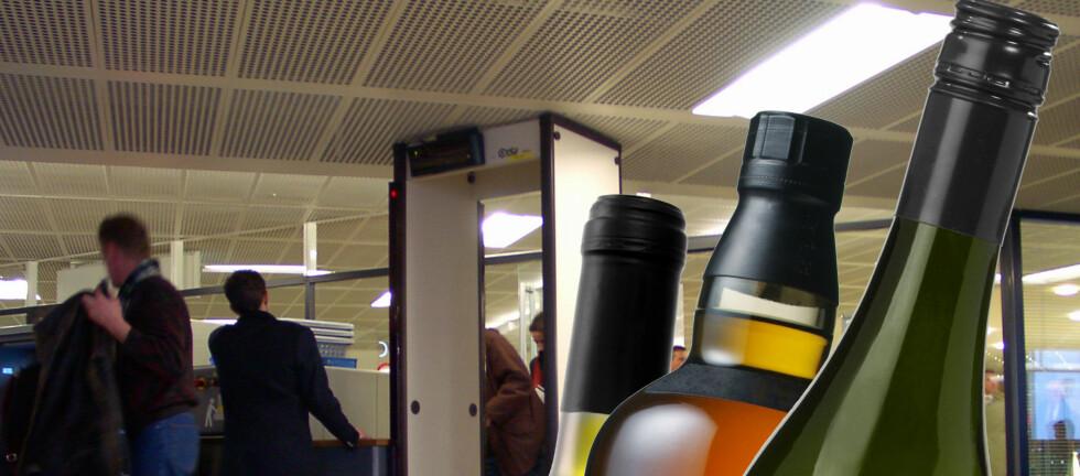 GLEMMER FORTSATT: Sikkerhetskontrollen på OSL tar inn mellom 25 og 40 alkoholholdige flasker hver dag.  Foto: Colourbox