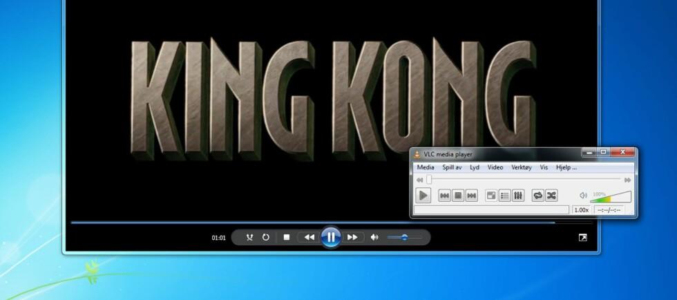 Her spiller vi av  en video i Windows Media Player som vi har rippet fra DVD ved hjelp av VLC.
