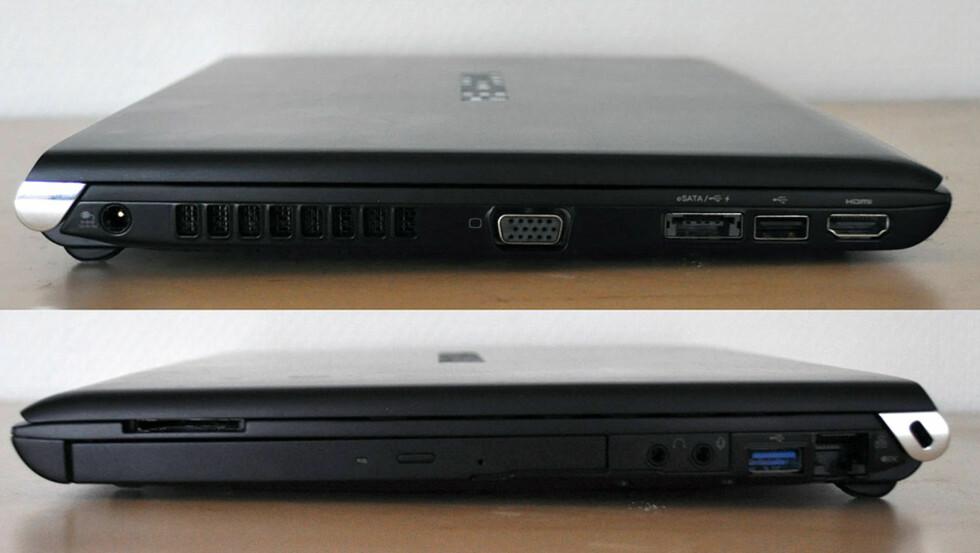 Alle tilkoblinger sitter på siden. Legg merke til den blå USB 3.0-porten. Foto: Bjørn Eirik Loftås