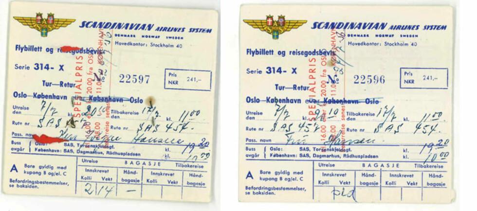 Flyselskapet SAS har eksistert siden 1946. Her ser du en flybillett fra 1956 fra Oslo til København.  Foto: SAS