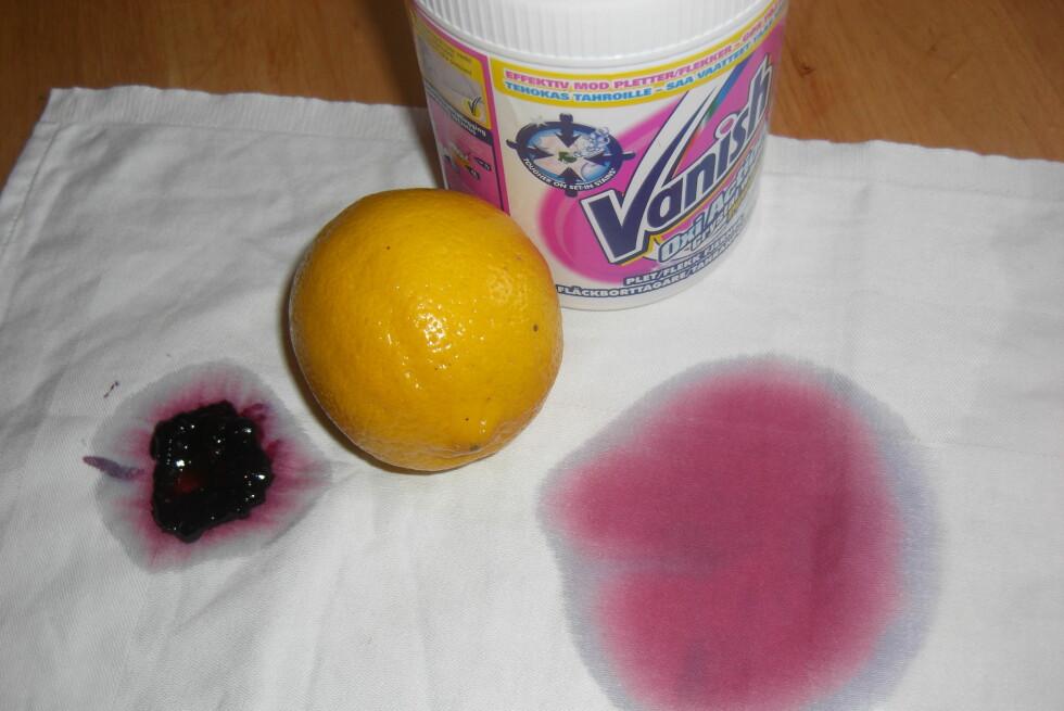 HVEM VINNER? Er sitronsaft bedre enn Vanish? Det har vi sjekket ut. Foto: Berit B. Njarga