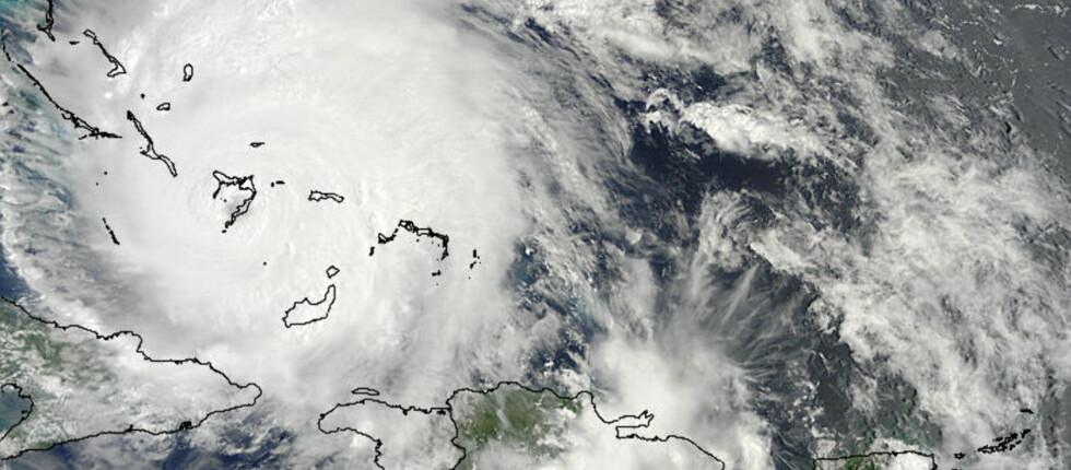 Orkanen Irene over Bahamas, fotografert i går ettermiddag lokal tid. Foto: NASA Goddard MODIS Rapid Response