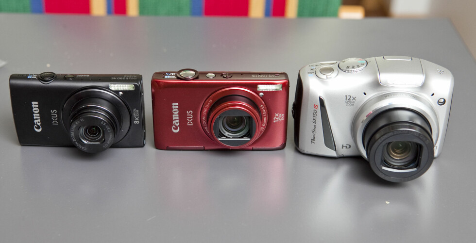 240 HS til venstre, Ixus 1100 HS i midten, og PowerShot SX150 IS til høyre. Foto: Per Ervland