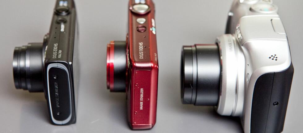 Sjekk den zoomen! 240 HS til venstre, Ixus 1100 HS i midten, og PowerShot SX150 IS til høyre. Foto: Per Ervland