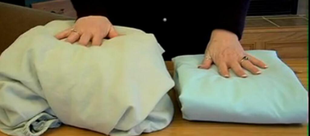 <b>Disse laknene er like:</b> Hvordan ser dine formsydde laken ut når du legger dem i skapet? I videoen under kan du se hvordan du får til varianten til høyre. Foto: Livingonadime.com