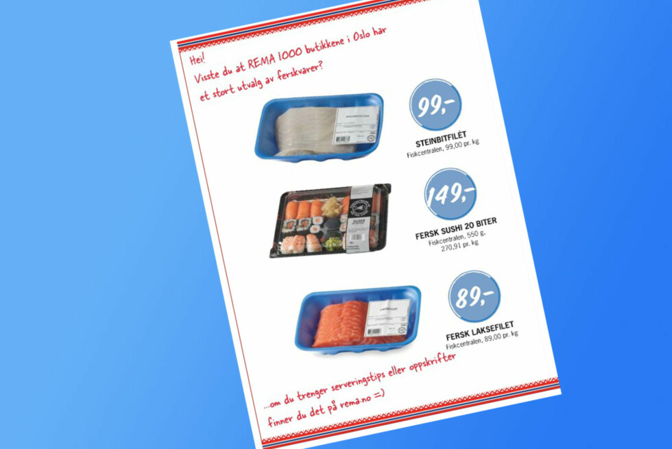 Forbrukerrådet reagerer på at Rema annonserer for fisk de ikke har. Foto: Rema 1000