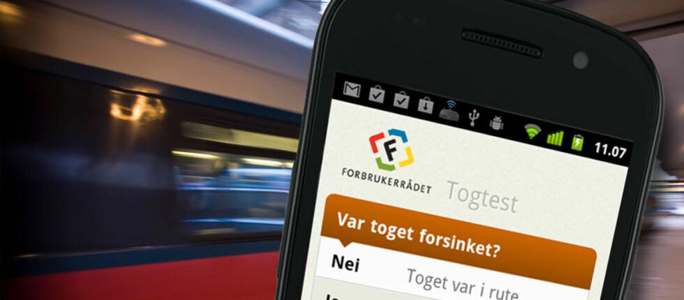 Slik ser Forbrukerrådets nye togtest ut. Dag to hadde allerede 600 pendlere lastet ned appen. Foto: Ole Petter Baugerød Stokke/Per Ervland/Samsung