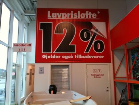 Lavprisløfte hos Bauhaus. Foto: Kristin Sørdal