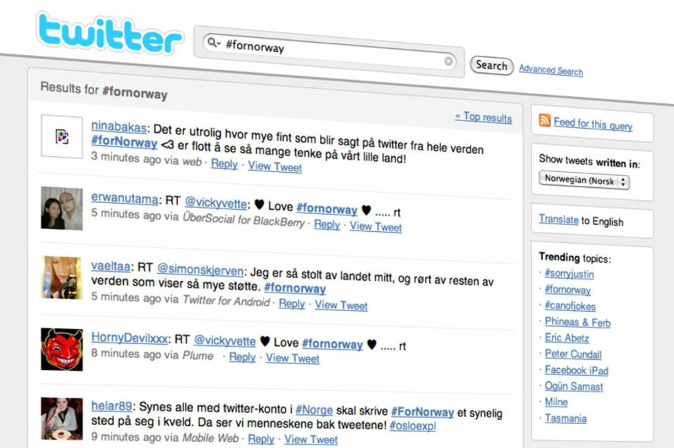 Det er mye norgeskjærlighet å spore på Twitter etter den tragiske hendelsen 22. juli.