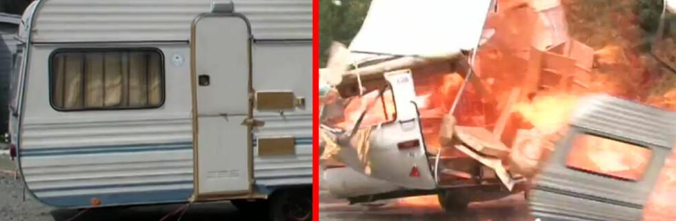 FØR OG ETTER: Dette er bare en test, men hver år brenner 30-40 campingvogner i Norge. Foto: If sikkerhetssenter