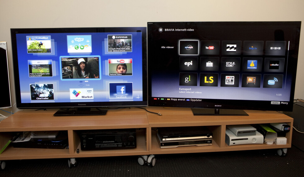 Panasonic har større menyvalg enn Sony. Den gir deg også TV-bildet i midten. Praktisk og brukervennlig. Foto: Per Ervland