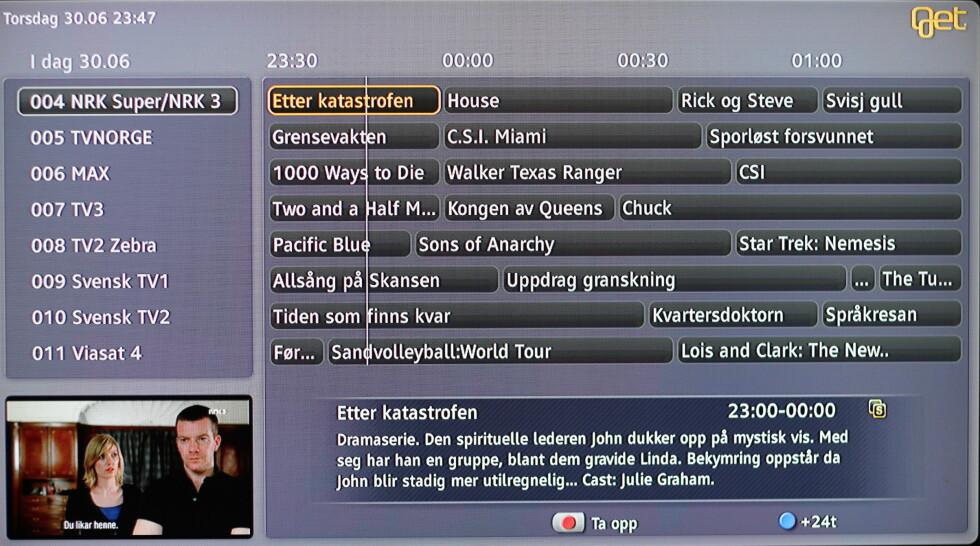 NYE TIDER: Slik ser Gets redesigna TV-tablå ut. Foto: Øivind Idsø