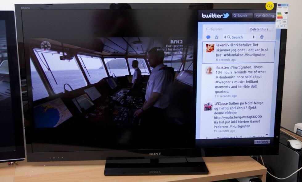 TV-sendingen fra Hurtigruten var en stor suksess både på NRK og i sosiale medier som Twitter og Facebook. Med EX720 kunne du også ha fulgt begge deler samtidig. Foto: Per Ervland