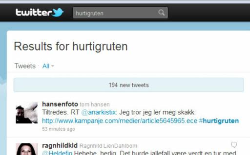 Et øyeblikksbilde fra mandag ettermiddags-twitter om #Hurtigruten. Noen merker riktignok også meldingene med #Hurtigruta.