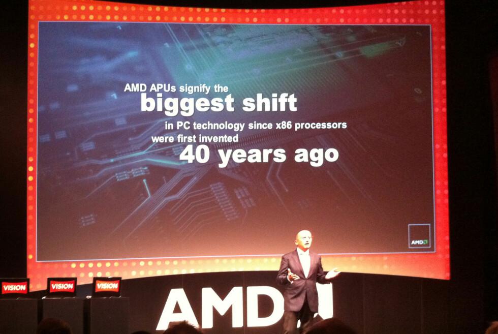 AMD kaller den nye prosessortypen for et paradigmeskifte, at det er den største endringen i prosessorarkitekturen på x86-platformen på 40 år.  Foto: Brynjulf Blix