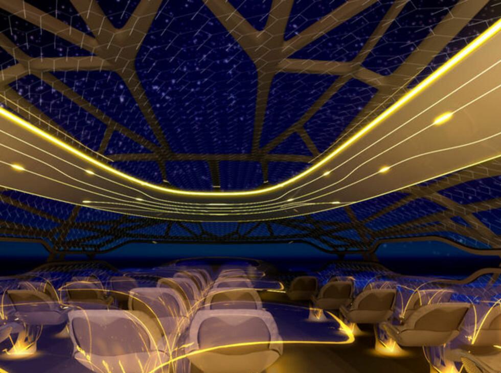 """Stemningsbelysning skal """"vitalisere"""" passasjerene. Foto: Airbus"""