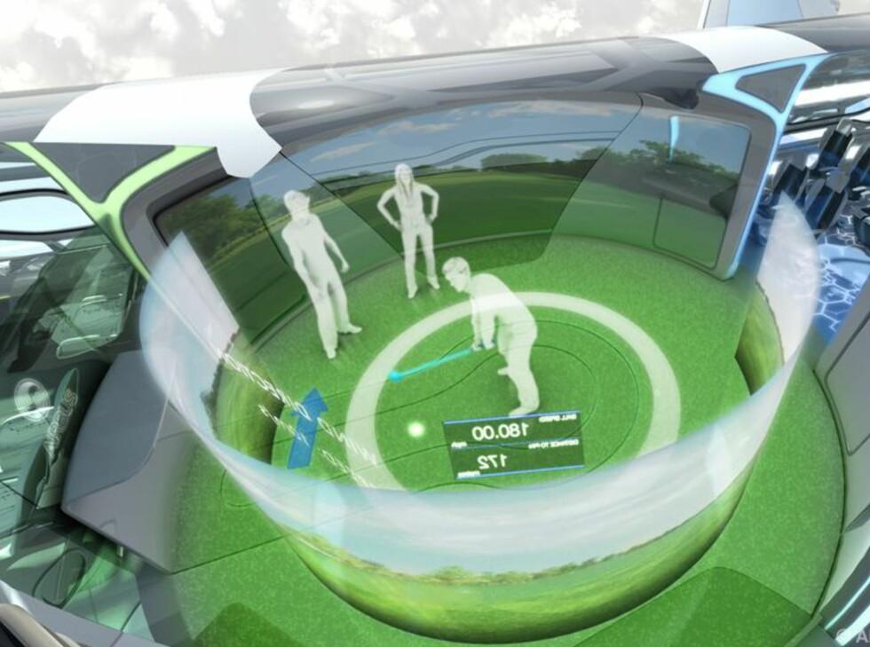 """Et slag golf med kameraten som er på bakken. Realistisk mulighet teknisk sett. Her fra flyets """"interaktive sone"""". Foto: Airbus"""