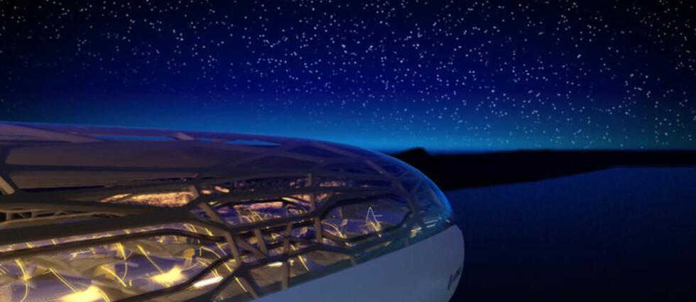 ROMSKIP? Nei, men flyfremtiden blir slik, tror Airbus, og lanserer visjoner som virker inspirert av blant annet Star Wars. Foto: Airbus